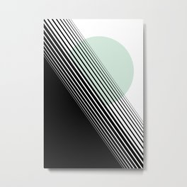Rising Sun Minimal Japanese Abstract White Black Mint Green Metal Print