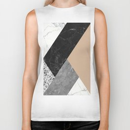 Black and White Marbles and Pantone Hazelnut Color Biker Tank