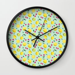 Yellow Lemon Green Lime and Red Cherry Fruit Pattern Design In Aqua Sky Blue Wall Clock