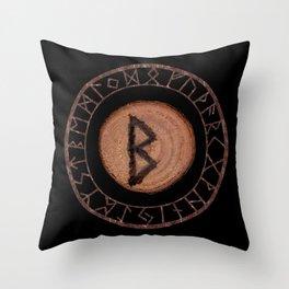 Berkano Elder Futhark Rune secrecy, silence, safety, mature wisdom, dependence, female fertility Throw Pillow