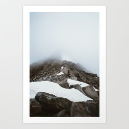 Snowy Foggy Mountain Peak Art Print