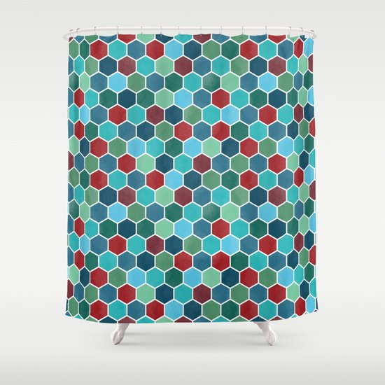 colorful geometric pattern shower curtain by lavish season s