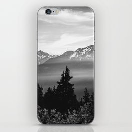 Morning in the Mountains Black and White iPhone Skin