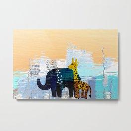 Giraffe & Elephant Mirage Metal Print