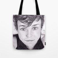 ashton irwin Tote Bags featuring portrait of Ashton by teresartwork
