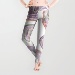Agate Slices Rose and Teal Palette Leggings