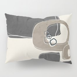 Retro Abstract Design in Taupe and Charcoal Gray Pillow Sham