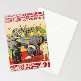 retro l.c. millers all star 3 - ring circus. circa 1941  Stationery Cards