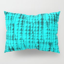 Square luminous curved stripes with imitation of the bark of a light blue tree trunk. Pillow Sham