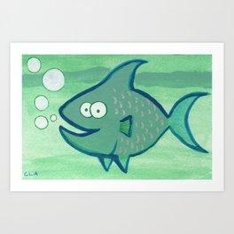 Super Happy Fish! Art Print