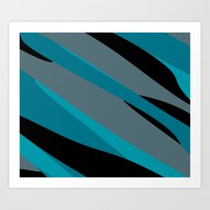 Turquoise gray and black camo abstract Art Print