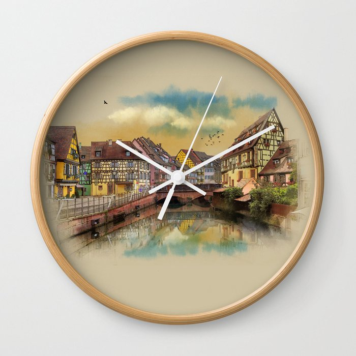panorama city of Colmar France Wall Clock