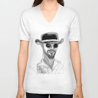 django V-neck T-shirts featuring Django by Andy Christofi