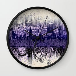 New York skyline drawing collage 2 Wall Clock