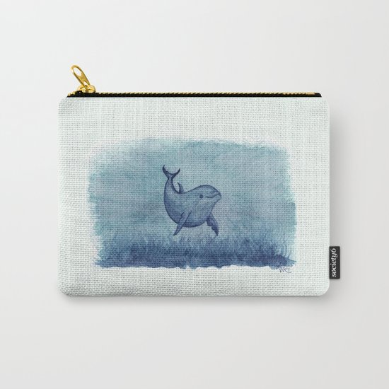 Notches Blue ~ Dolphin Watercolor, (c) 2013 Carry-All Pouch