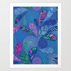 Feather Doodle Art Print