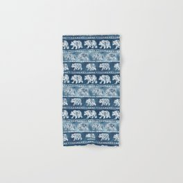 BEAR SPIRIT Indigo Watercolor California Bears Pattern Hand & Bath Towel