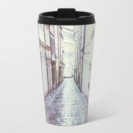 Cobblestone Street in Prague Travel Mug