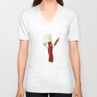 baking V-neck T-shirts featuring The Baking Bacon by Amplified27