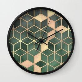 Gold Emerald green Gradient Cube Art print Wall Clock