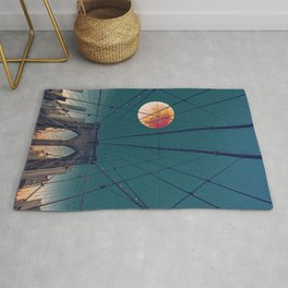 Blood Moon over the Brooklyn Bridge and New York City Skyline Rug