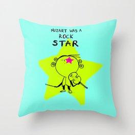 MOZART WAS A ROCK STAR (BLUE) Throw Pillow