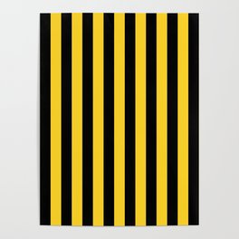 Yellow and Black Honey Bee Vertical Beach Hut Stripes Poster
