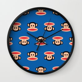 Julius Monkey Pattern by Paul Frank - Dark Blue Wall Clock