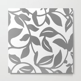 LEAF PALM SWIRL IN GRAY AND WHITE Metal Print
