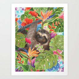 Sloth among exotic flowers Art Print