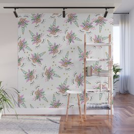 Modern cute whimsical floral unicorn pattern illustration gold glitter polka dots Wall Mural