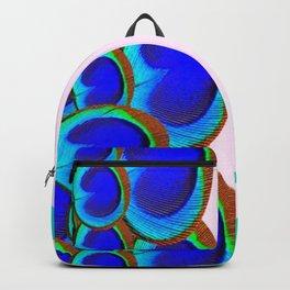 BLUE PEACOCK FEATHER EYES MODERN  ART Backpack