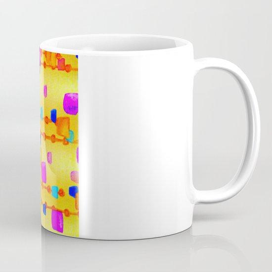 POLKA DOT MATRIX - Bright Bold Cheerful Dotty Geometric Squares Circles Abstract Watercolor Painting Mug