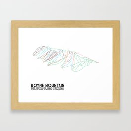 Boyne Mountain, MI - Minimalist Trail Art Framed Art Print