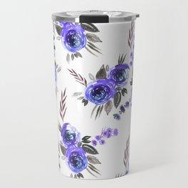 Bouquets Pattern Blue Travel Mug