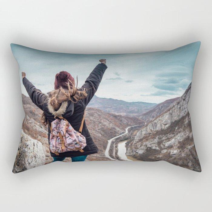 Tourist on the peak of high rocks. Big canyon on Balkan peninsula Rectangular Pillow