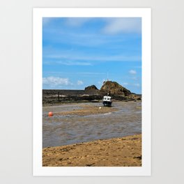 Boat at low tide - Bude, England Art Print