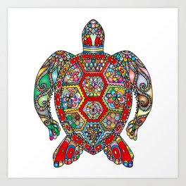 Colorful Sea Turtle Abstract Mandala Art Print