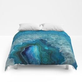 Blue agate marble faux druse crystal quartz gem gemstone geode mineral stone photograph hipster Comforters