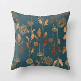 Art Deco Copper Flowers Throw Pillow