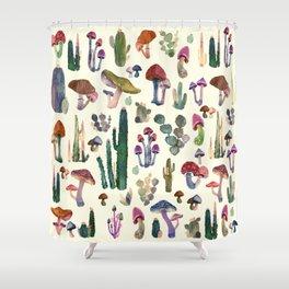 mushrooms and cactus Shower Curtain