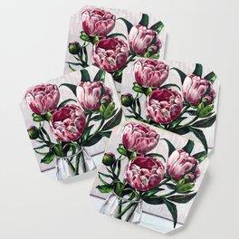Peonies in a vase Coaster