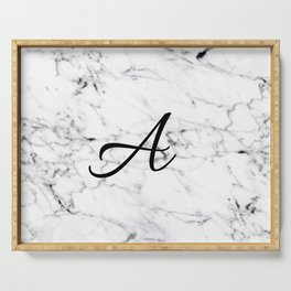 Letter A on Marble texture Initial personalized monogram Serving Tray