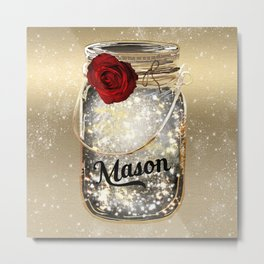 Gold Sparkle Mason Jar Metal Print