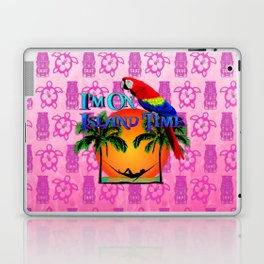 Pink Tiki Island Time And Parrot Laptop & iPad Skin