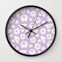 Modern purple lavender pink watercolor white flowers Wall Clock