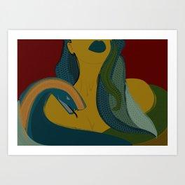 MEDUSA - Mythology, Snakes, Green, Yellow, Girl, Legend, Lips Art Print