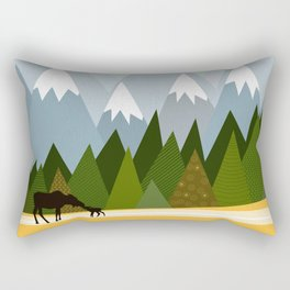 Woodland snowy mountain tops trees and mother moose and baby Rectangular Pillow