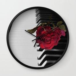 Contemporary Black & White Piano Keys Red Rose Art A509 Wall Clock