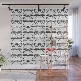 Optometrist Black and Red Frames Pattern Print Wall Mural